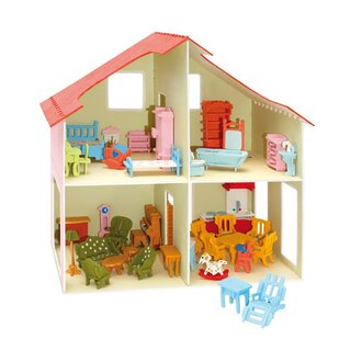 Wooden kits Dollhouse with furniture